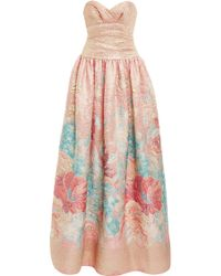 Marchesa Metallic Embossed Brocade Strapless Gown - Lyst
