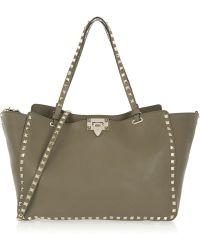 Valentino - The Rockstud Medium Leather Trapeze Bag - Lyst