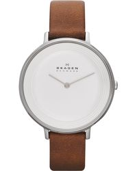 Skagen Womens Ditte Brown Leather Strap Watch 37mm - Lyst