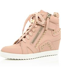River Island Light Pink Studded Wedge High Top Sneakers