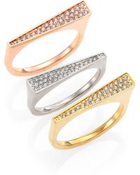 Michael Kors Brilliance Motif Stackable Tri-Tone Triangle Ring Set gold - Lyst