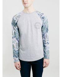 Topman Grey Marble Print Raglan Longsleeve T-Shirt - Lyst