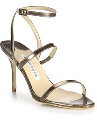 Manolo Blahnik | Didin Wrap-around Metallic Leather Sandals | Lyst