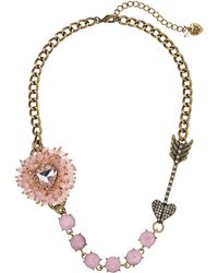 Betsey Johnson Beaded Heart Pink Heart & Arrow Frontal Necklace - Lyst