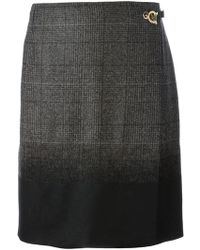 Ferragamo Checked Wrap Skirt - Lyst