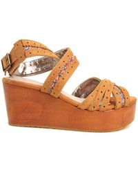 Charlotte Ronson Georgia Multi Strap Platform Wedge In Floral brown - Lyst