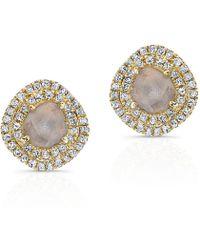Anne Sisteron - 14kt Yellow Gold Diamond Slice Double Halo Stud Earrings - Lyst