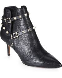 Valentino Studded Strap Booties - Lyst