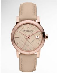 Burberry Ladies Rose Gold Watch with Tan Leather Strap - Lyst