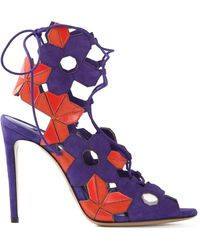 Casadei Cut Out Flower Sandals - Lyst