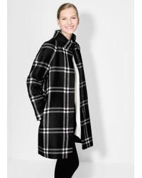 Mango Check Wool Blend Coat - Lyst