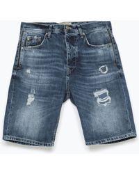 Zara Denim Shorts blue - Lyst