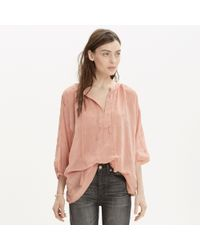 Madewell Embroidered Openview Tunic pink - Lyst