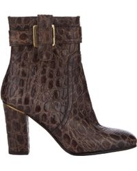 Barneys New York Buckle-Strap Ankle Boots - Lyst