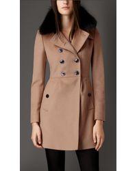 Burberry Virgin Wool Cashmere Coat With Fox Fur Collar - Lyst