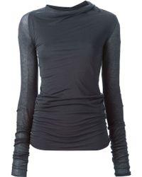 Rick Owens Lilies | Cowl Neck Long Sleeve T-shirt | Lyst