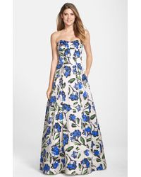 Milly 'Ava' Floral Print Strapless Gown - Lyst