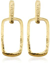 Herve Van Der Straeten - Goldplated Square Cut Out Earrings - Lyst