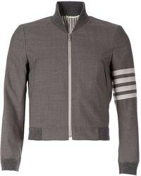 Thom Browne Stripe Sleeve Detail Bomber Jacket - Lyst