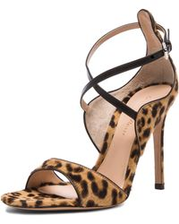 Gianvito Rossi Strappy Calf Hair Heels - Lyst
