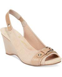 Anne Klein Perfered Stretch Platform Wedge Sandals beige - Lyst