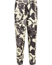 J.Crew Collection Noir Floral-print Silk Tapered Pants - Lyst