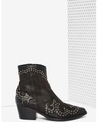 Nasty Gal Paxton Perforated Leather Boots - Lyst