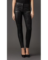 Burberry Skinny Fit Leather Leggings - Lyst