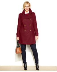 Anne Klein Plus Size Double-breasted Wool-blend Coat - Lyst