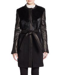 Elie Tahari Leather & Pony Hair-Trimmed Wool Coat - Lyst