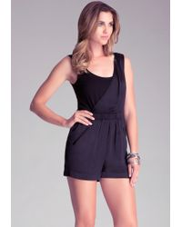 Bebe Dual Fabric Romper - Black