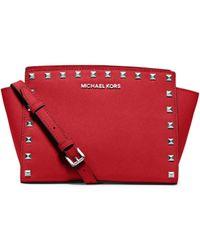 Michael Kors Selma Medium Studded Saffiano Leather Messenger - Lyst
