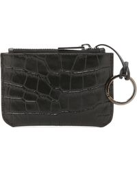 Vince - Croc Embossed Coin Pouch - Black - Lyst