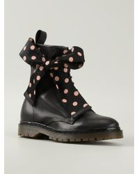 RED Valentino Polka Dot Bow Detail Combat Boots - Lyst