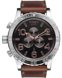 Nixon 51-30 Ip Stainless Steel & Leather Chronograph Strap Watch silver - Lyst