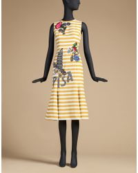 Dolce & Gabbana   Cotton Dress With Rear Cut-out And Embroidery   Lyst
