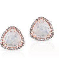 Anne Sisteron 14Kt Rose Gold Diamond Moonstone Stud Earrings - Lyst