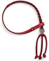 Alexander McQueen | Skull Braided Leather Bracelet - Oxblood | Lyst