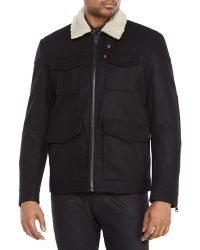 Levi's Black Faux Fur Collar Jacket - Lyst