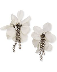 Lanvin - Flower And Crystal Chain Clip Earrings - Lyst