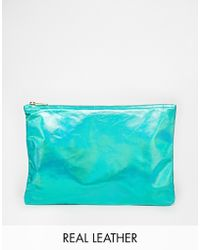American Apparel Iridescent Leather Clutch In Green green - Lyst