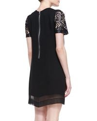 Robert Rodriguez Silk Laceillusion Overlay Dress - Lyst