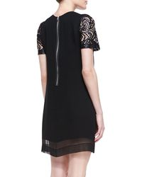 Robert Rodriguez Silk Laceillusion Overlay Dress black - Lyst