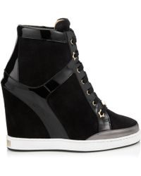 Jimmy Choo Panama Suede and Patent-Leather Wedge Sneakers black - Lyst