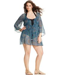 Jessica Simpson Plus Size Waist-Tied Printed Cover Up - Lyst