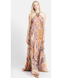 Emilio Pucci Hardware Detail Print Silk Chiffon T-Back Gown - Lyst