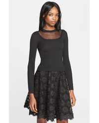 RED Valentino Point D'Esprit Yoke Wool Knit Sweater black - Lyst
