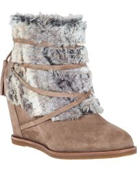 Johnston And Murphy Brynn Wedge Boot Mushroom Suede - Lyst