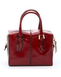 Tod's Dark Red Leather Mini Convertible Bag - Lyst