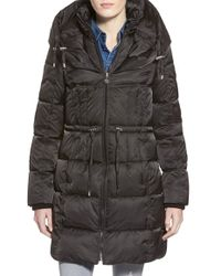 Betsey Johnson - Quilted Puffer Coat With Convertible Pillow Collar Hood - Lyst